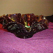 "Excellent Imperial Amethyst ""Diamond Lace"" Fluted 9"" Bowl"