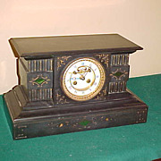 Excellent Antique French Marti Black Slate w /Green chiming Clock