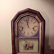 Cute Little American Octagon Top Mahogany Striking Shelf Clock
