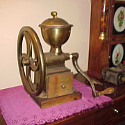 "Antique 1880's Peugeot Freres 13"" Wheel Brass Body Coffee Mill"