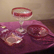 Three Nice Vintage Cranberry/Pigeon Blood Glass Bowls & Compote