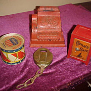 3 Neat Coin Banks and a Old Brass Bohannon NY Padlock