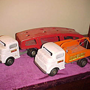 To Nice 1940's Structo Trucks-Auto Transport & Toyland Garage