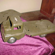 Three 1940's-50's Pressed Steel Structo US Army Trucks