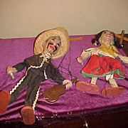 Pair of Early 1900's Mexican Marionette Puppets-Need Strings