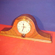 Neat Small French Aviation Clock Mounting in Humpback Case