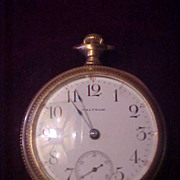 Decent 16 Size /17 Jewel Waltham OF Pocket Watch-Runs Great