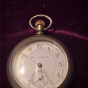 Nice 17 Jewel Hampden 18 Sz Silver Case Pocket Watch-Runs Great