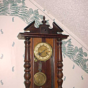 Vintage Multi-tone Case Vienna Style Wall Clock- Runs/Sounds Perfect