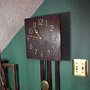 Nice Vintage Mission Arts&Crafts Style Sessions Long Drop Wall Clock