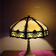 Excellent Large 1920's Art Nouveau Slag Glass Shade Lamp