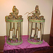 Excellent Pair of Early 1900's Hanging Cast & Glass Lamps