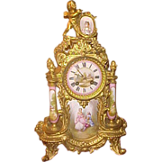 Gorgious French Medaille D'Agent Ornate Porcelain&Gold Gild 1889 Clock
