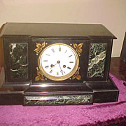 Excellent Antique French Japy Freres Slate & Marble Mantel Clock