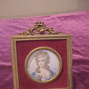 Nice Miniature Signed Painting on Ivory In French Brass Frame