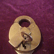 Wilson, Bohannan Co 1880's Brass Padlock w/Key& Works Great