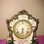 NIce Ansonia Wyoming Hand Painted Dial 8-Day Pocelain Clock