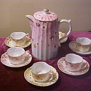 Antique Setting of 5 Fine China Chocolate Set