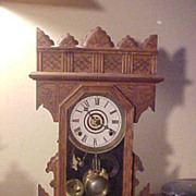 Nice Unusual Antique Gilbert Walnut Mantel Clock-Runs Great