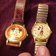 Two Nice Running Vintage Mickey Mouse Watches-Running Great