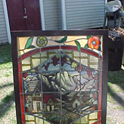 "Three Vintage  Colorful 32"" x 42"" Framed Stained Glass Windows"