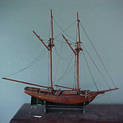 SALE PENDING 21&quot; Wooden Schooner Sail Ship Needs Little TLC-Natural & Green