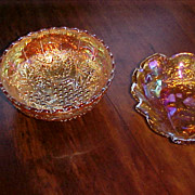 "Two Nice 7"" Depression Marigold Bowls-Blackberry & Grape"