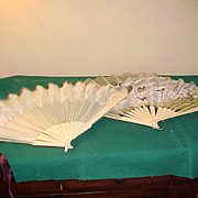 Two Fancy Early Hand Fans -1 Feathered & 1 Needs TLC