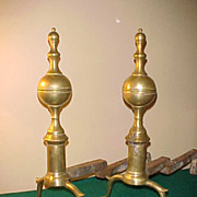 "Pair of Federal New York State Style Brass Spire Top 22"" Tall  Andirons"