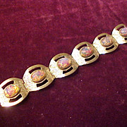 Excellent Sterling Bracelet with Purple Stones- Adult 6  5/8""