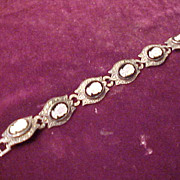 Nice Vintage Sterling & Carved Cameo Bracelet