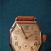 Excellent Illinois Larger Octagon  Men's 1930's 17 J Wrist Watch