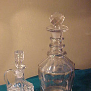 Two Nice Early Decantors - 1 Pressed Cruet and 1 Blown & Cut
