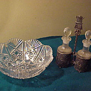 Nice Vintage Cruet Set 7 Quality Cut Bowl
