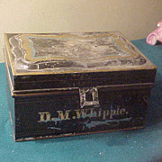 Neat Early Tin Cash-box-Marked DM Whipple