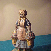 "9 /2"" Dutch Flower Girl Cast Iron Door-stop"