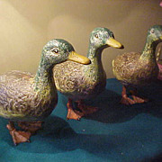 Three Neat Cast Iron Matching Ducks