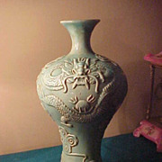 "Excellent Early Jade Green Dragon Oriental 17"" Vase"