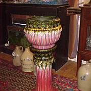"Perfect Large Weller Jardiniere & Pedestal - 35"" Tall x 14"" Wide"