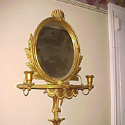 "Vintage Gilt Carved Girandole 29"" x 16""  Mirror - Great Look"