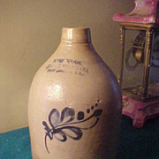 New York Stoneware Co 12&quot;x7&quot; Stoneware Jug - Great Cond&Markings