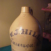 Great 2 Gal WJ Hill Albany NY Stoneware Jug
