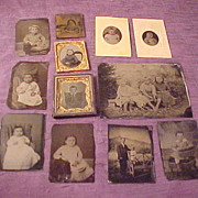Nice Group of 12 Children Antique Tintype Photographs