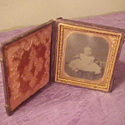 Excellent Baby Tintype w/Nice Detailed Gold Bordered Case