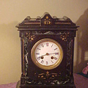 Excellent French Japy Freres Slate& Marble Mantel Clock-Runs Great