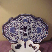 Two Good Looking Unusual Shaped Flow Blue Pcs-Platter & Bowl
