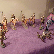 Group of Ten Large Composition WWI Figures- Marx & Trico