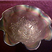 Perfect Northwood Amethyst Star of David & Bows Footed Bowl