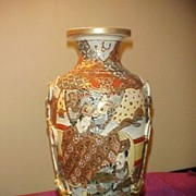 Nice Early Marked Satsuma 12 Inch Vase-Great Colors