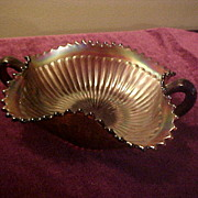 Northwood Amethyst Stripped Ray Handled Bon Bon Dish